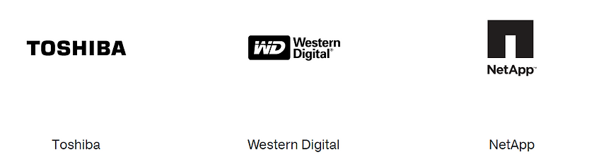 A collection of three logos showing Toshiba, Western Digital and NetApp.