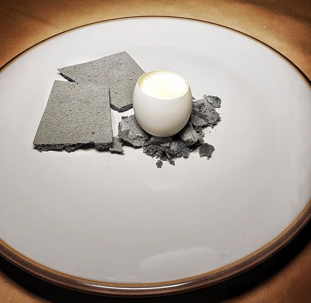 Stack rocks - Gorse flower custard and ash meringue.