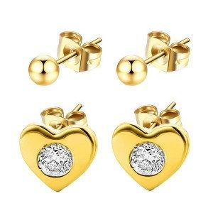 Boucles d'oreilles pour fille Perles + coeurs