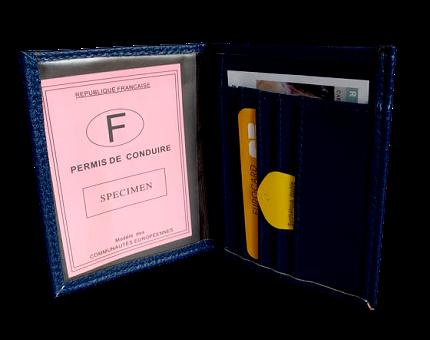 Porte permis et carte  croûte cuir