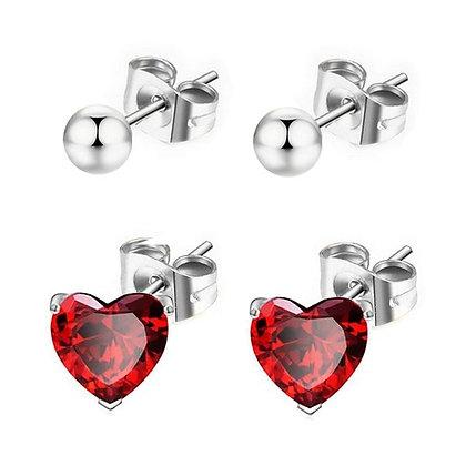Boucles d'oreilles pour fille- Cz coeur rouge + Perles