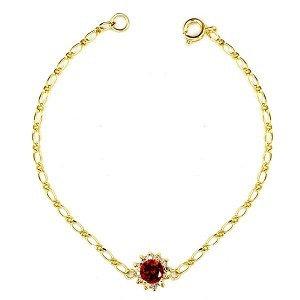 Bracelet Fleur Cz rouge