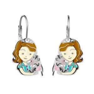Boucles d'oreilles pour fille- Petite fille & son lapin
