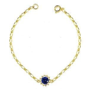 Bracelet Fleur Cz bleu