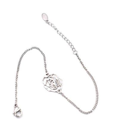 Bracelet en acier forme fleur