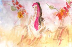 Waiting  watercolor study 8 x11 $25