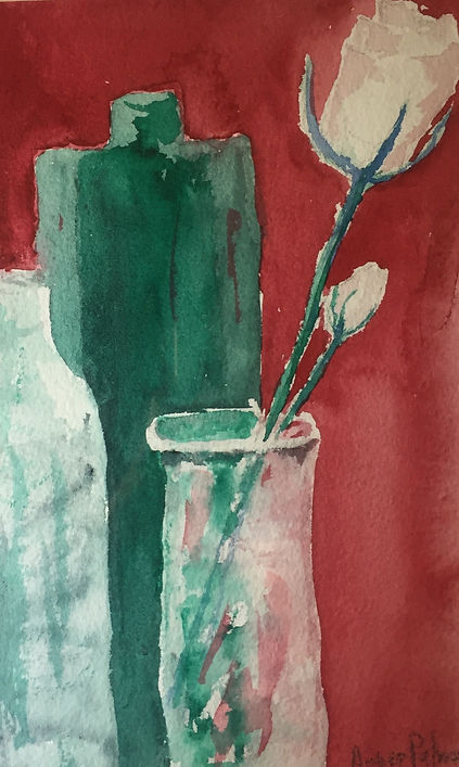 Green Bottles, Watercolor, $75.00
