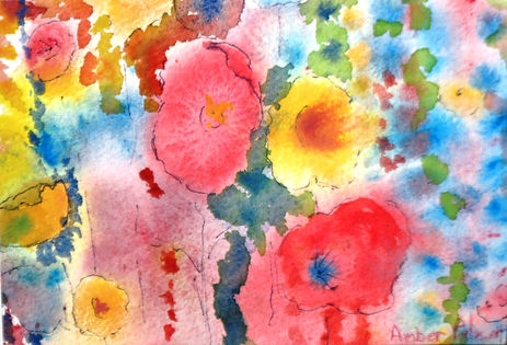 flower Party watercolor 9x10 framed $75.