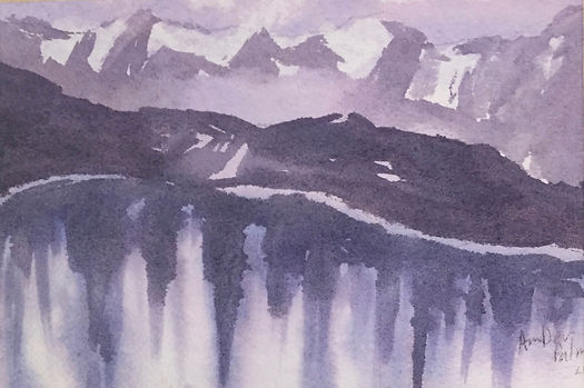 Mountain Reflections, Watercolor
