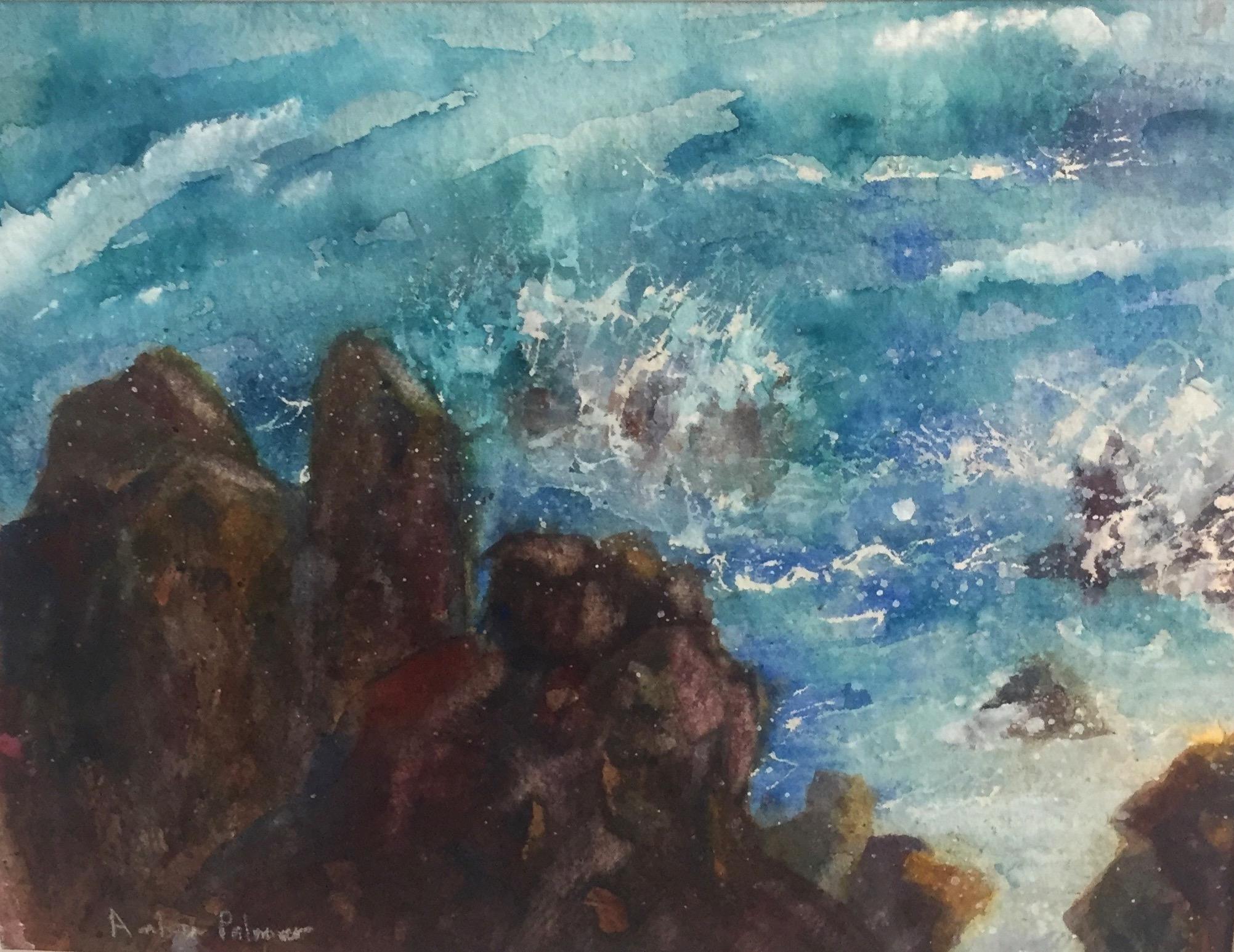 Crashing Waves, Watercolor $200