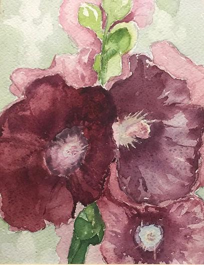 Hollyhocks, Watercolor $75.00