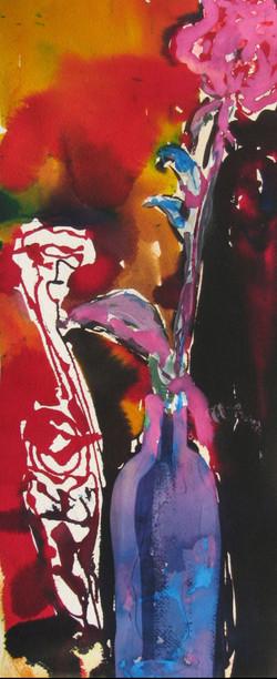 Jazzy Flower watecolor inda ink 12x22 un