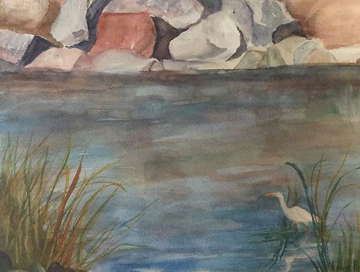Wading and Waiting, Watercolor