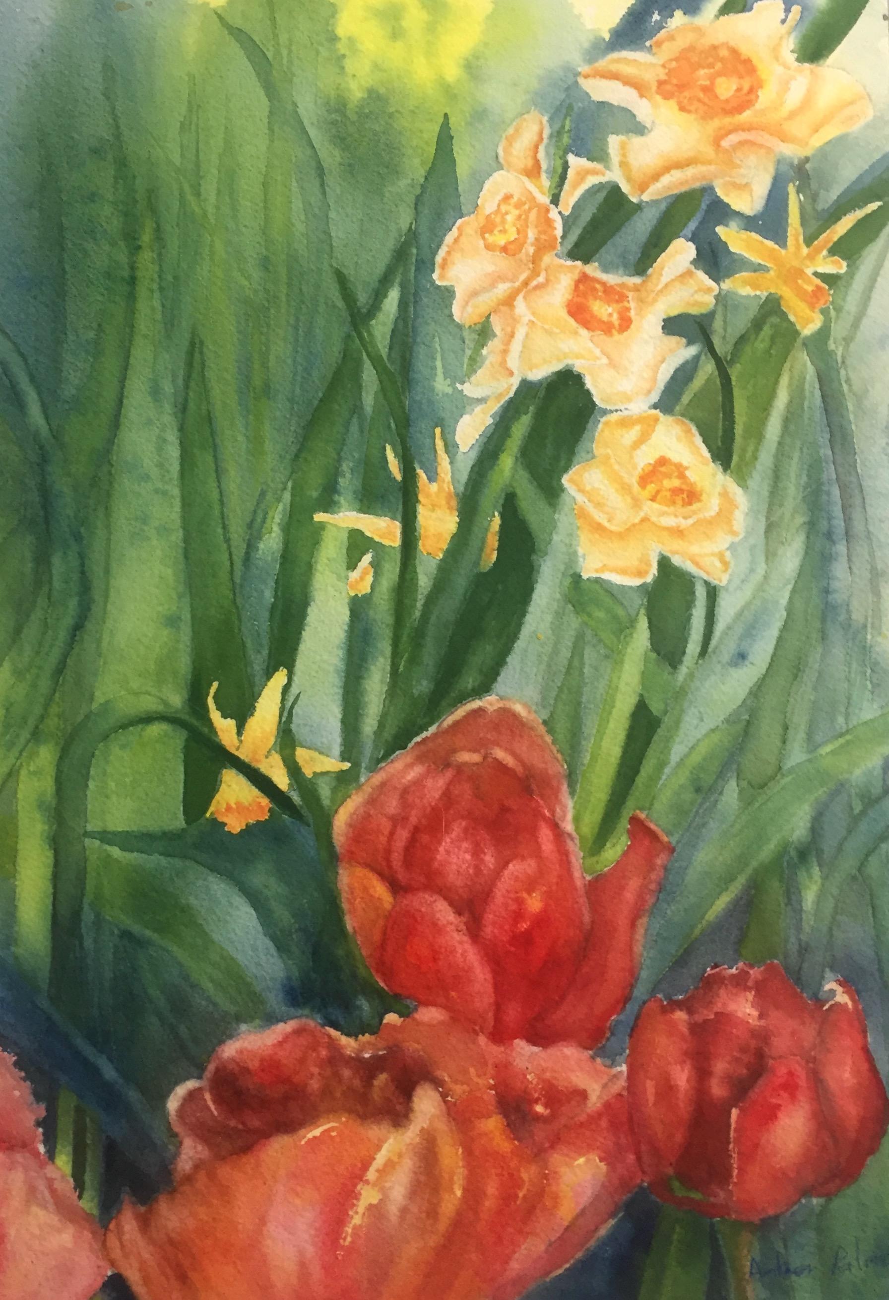 In The Garden, Watercolor $500