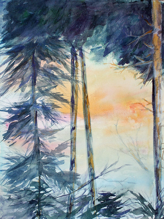 Northern Carolina Sunset Watercolor 17x2