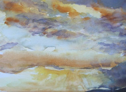 Stormy Sunset watercolor 16x20  $350