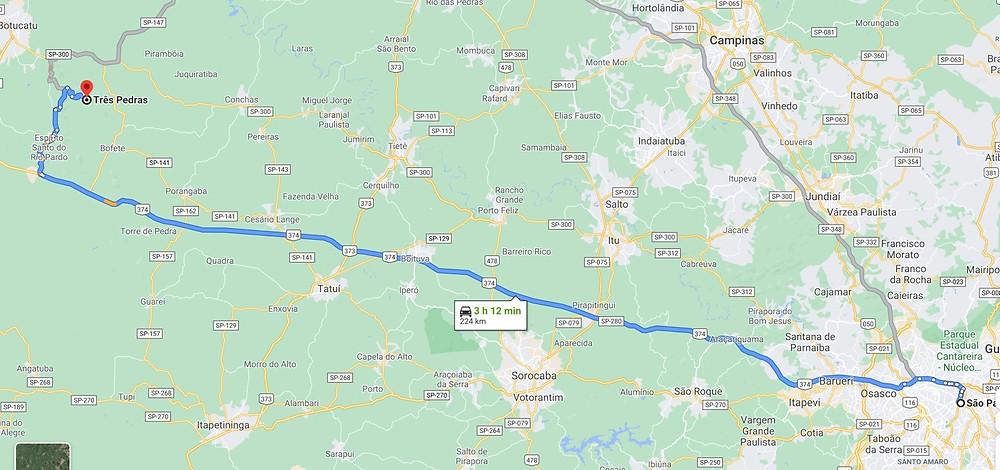 Mapa do trajeto de São Paulo Capital até 3 Pedras em Bofete