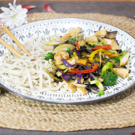 Vegetable Stir-Fry with Tofu  and Brown Rice Noodles
