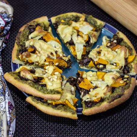 Vegan Pumpkin, Pesto and Caramelised Onion Pizza