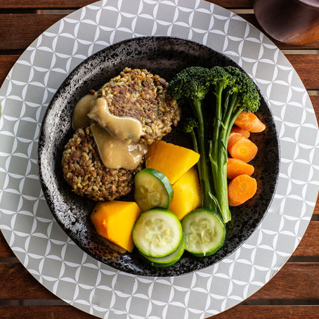 Brown Rice and Lentil Patties with  Turmeric Potato Bake and Steamed Vegetables