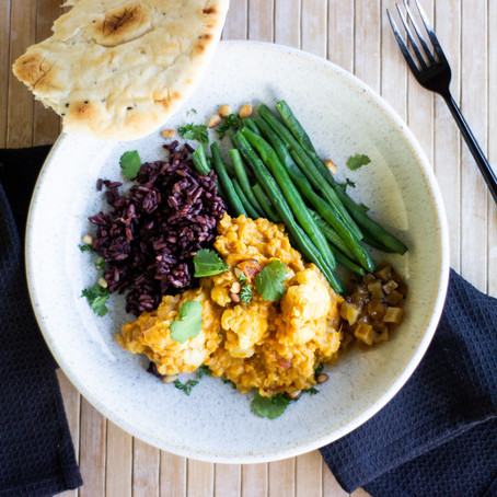Golden Dahl with Green Beans & Black Rice