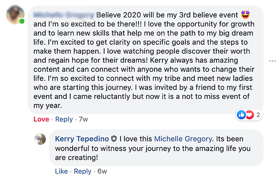 Michelle Gregory BELIEVE 2020 Testimonia
