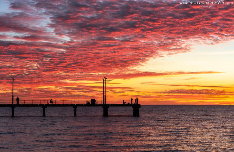 Albany New Jetty Silhouetted Fishermen