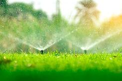 Automatic lawn sprinkler watering green