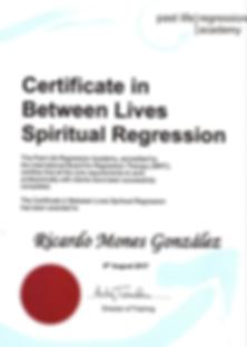 Certificado Terapia de Regresión Espiritual o Vida entre Vidas