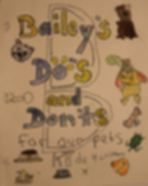 a variety of hand drawn pets with title Bailey's Do's and Don'ts for our Pets