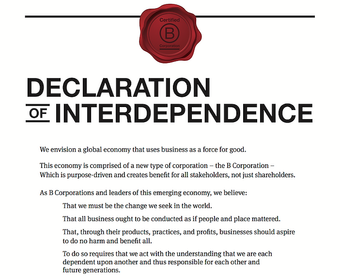 B Corps Declaration of Independence