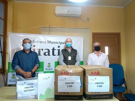 Prefeitura recebe doação de máscaras e luvas  da CMPC para profissionais da saúde