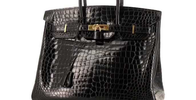 Sac à main Hermes Birkin 35 cm en crocodile porosus noir