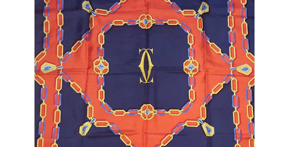 Foulard Cartier bijouxprécieuxen twill de soie orange et bleu