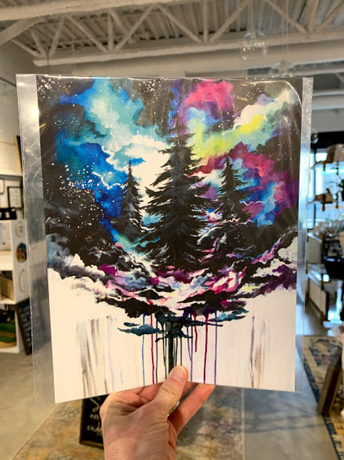 Rainbow Galaxy Trees Print - Kay Rose Creative