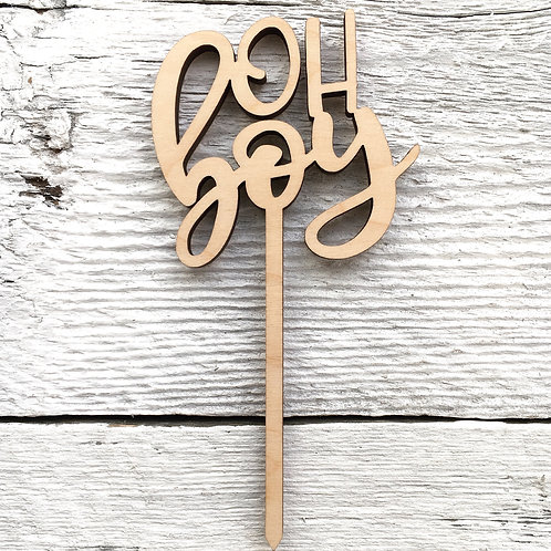 Oh Boy Wooden Cake Toppers - Etch'd Designs