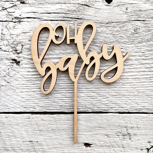 Oh Baby Wooden Cake Toppers - Etch'd Designs