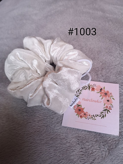 White Velvet Scrunchie -Hair Cloud Co