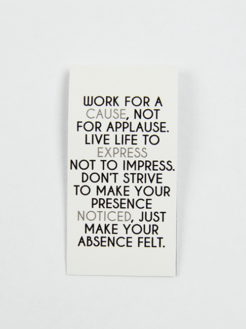 Work For A Cause Not For Applause -Magnetic Bookmark - IM Paper