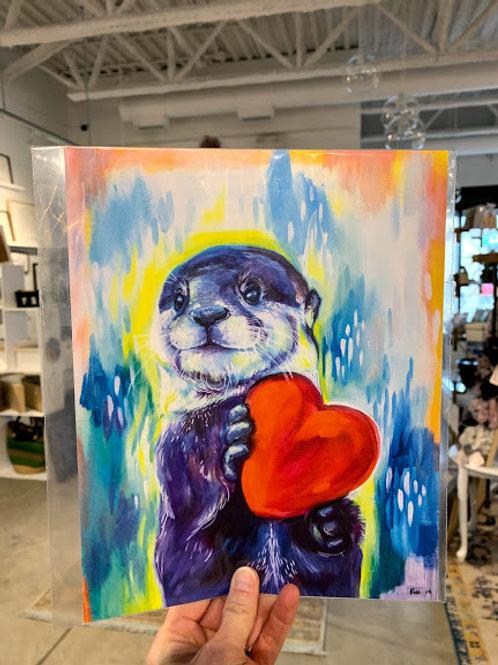 Rainbow Heart Otter Print - Kay Rose Creative