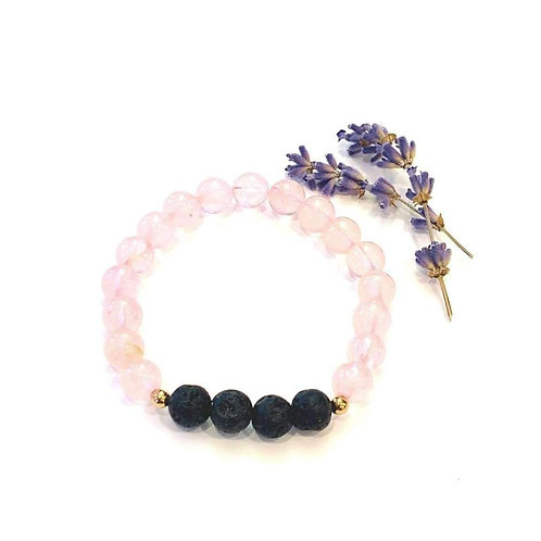 Rose Quartz + Lava Bracelet - Mala & Me