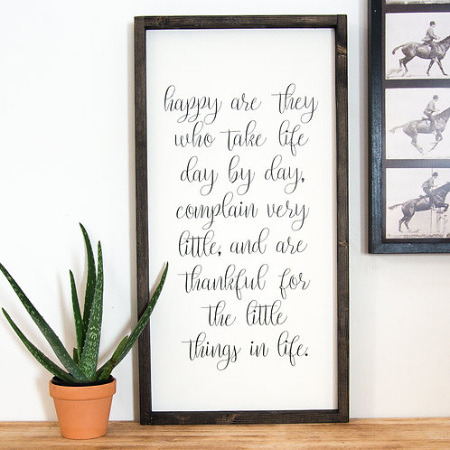 Happy Are They 12x24 Wooden Sign - Fox + Sparr