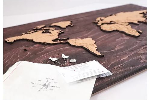 "Espresso Push Pin Travel Map 24x14"" - Wanderlust Creatures"