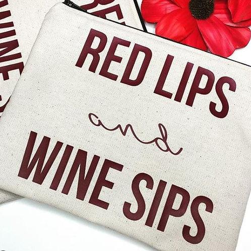 'Red Lips & Wine Sips' Make Up Bag - Love Jupiter