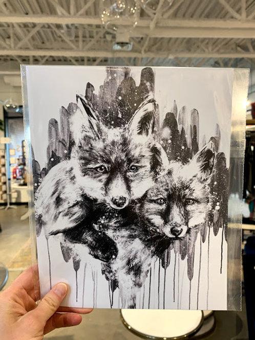 B+W Fox Print - Kay Rose Creative