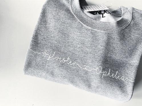 Grey Custom Name Sweater - Zen Lion Design
