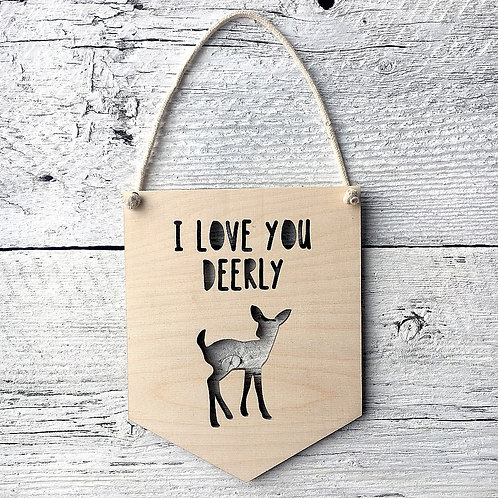 I Love You Deerly Wall Flag - Etch'd Designs
