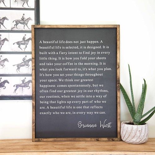 A Beautiful Life - 18x24 Wooden Sign - Fox + Sparrow
