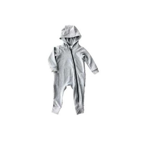 Light Grey Hooded Bamboo Zip Romper - Darling Designz