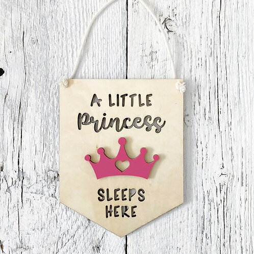 A Little Princess Sleeps Here 3D Wall Flags - Etch'd Designs